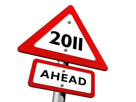 Sign Indicating 2011 Ahead Stock Photo