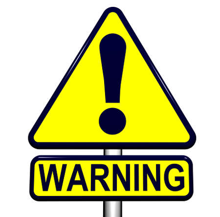 warning against a white background: Warning Sign against White Background