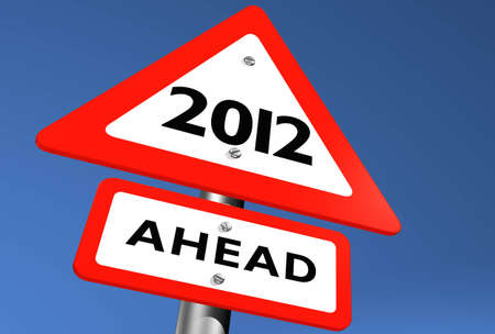 Road Sign Indicating 2012 Ahead Stock Photo