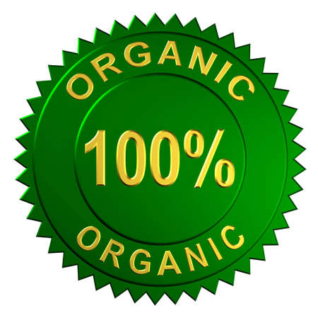 Metallic seal with the words 100% Organic