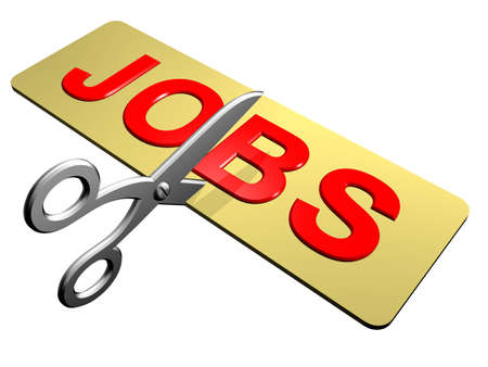 A pair of scissors cutting through the word Jobs Stock Photo - 12534563