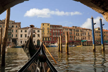 Gondolier on the Grand Canal, Venice, Italy Stock Photo