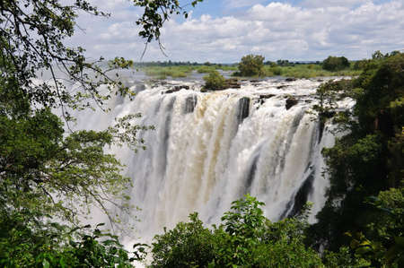 The Victoria Falls, on the Zambezi River between Zambia and Zimbabwe in Africa