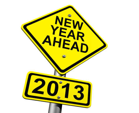 Road Sign Indicating New Year 2013 Ahead photo