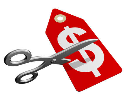 cheap prices: A pair of scissors cutting through a price tag Stock Photo
