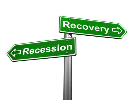 Road Signs Indicating Recession and Recovery Stock Photo