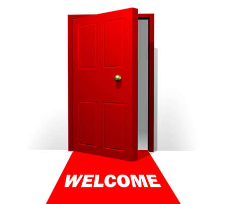 Doorway with Red Carpet and Welcome Mat Stock Photo