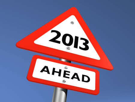 Road Sign Indicating 2013 Ahead Stock Photo