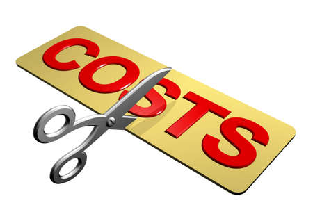 cost reduction: A pair of scissors cutting through the word Costs