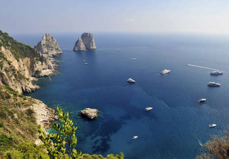The Faraglioni Rocks off the Island of Capri near Naples in Italy