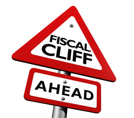 Warning sign indicating fiscal cliff ahead Stock Photo - 16550435