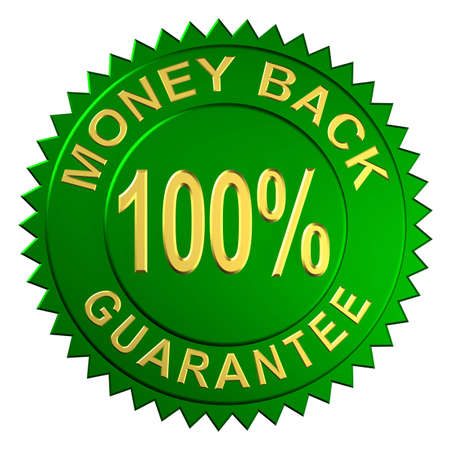 back icon: Seal Embossed with Money Back Guarantee Stock Photo