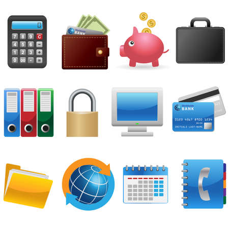 Set of business and finance icons Illustration
