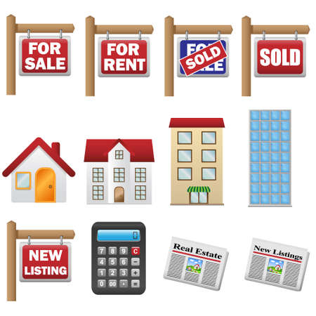 property for sale: Real estate and property icons Illustration