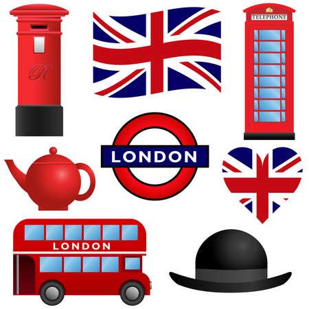 londres autobus: Conjunto de iconos de viajes, Londres y el Reino Unido Vectores