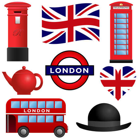 telephone booth: Set of travel icons, London and the United Kingdom Illustration