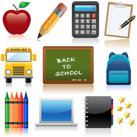 relating: Set of icons relating to school and education