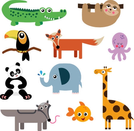 A Set of Cute Cartoon Animal Icons
