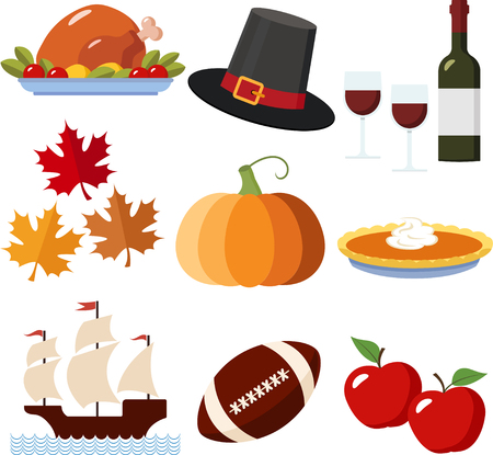 A Set of Colorful Thanksgiving Icons