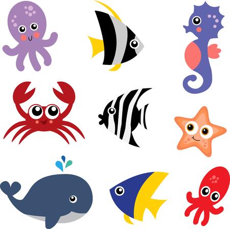 A Set of Colorful Sea Creature Icons Illustration