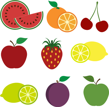 A Set of Colorful Healthy Fruit Icons
