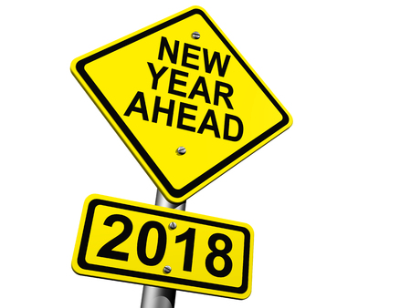 Road Sign Indicating New Year 2018 Ahead Stock Photo