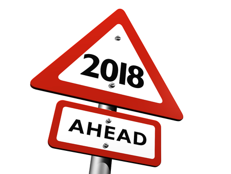 3D Illustration of Road Sign Indicating New Year 2018 Ahead
