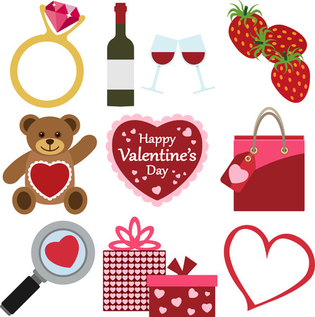 A Set of Colorful Valentine's Day Icons.