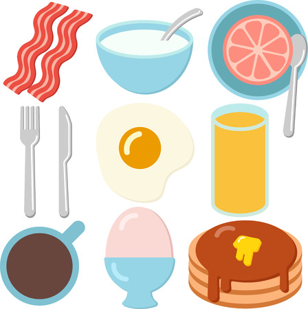 A Set of Colorful Breakfast Icons Stock Vector - 93714609
