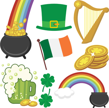 A Set of Colorful St Patrick's Day Icons Çizim