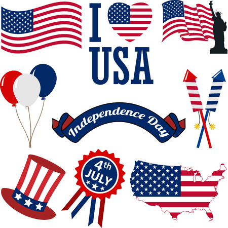 A set of 4th of July Vector Icon Illustrations