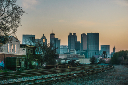 A view of the Atlanta Georgia skyline from the train tracks near Castleberry Hill neighborhood