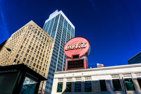 A view of the Coca-Cola sign in downtown Atlanta Georgia