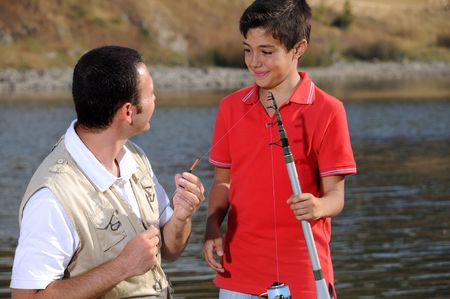 Father with son and free time, operation fishing