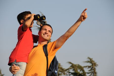 Father with son in trekking day