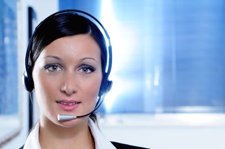 customer service, woman and call centre,look in camera Stock Photo