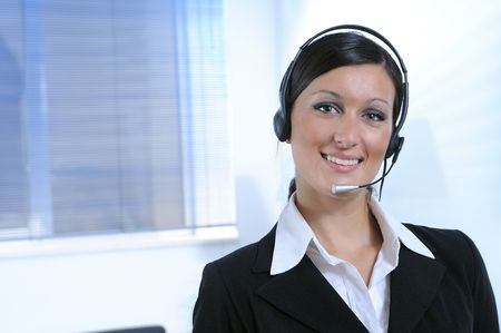 woman and call centre,look in camera Stock Photo