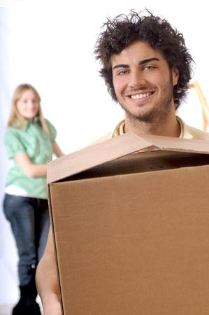 young couple purchase new home, smile and look in camera