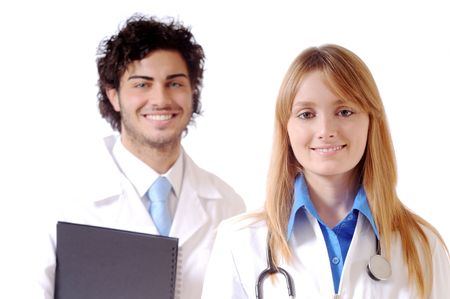 young doctor with stethoscope smiles and look in camera