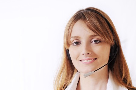 customer service and call centre,beautiful woman smiling and look in camera