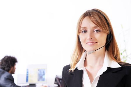 woman and call centre,smiling and look in camera