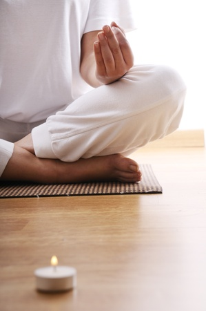 yoga and meditaion of young woman in indoor
