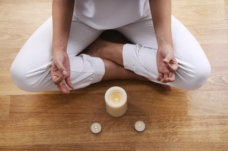 yoga and meditaion of young woman in indoor Stock Photo - 8886669