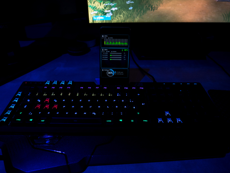 gaming equipment rgb lighted gaming keyboard with smartphone connection focus