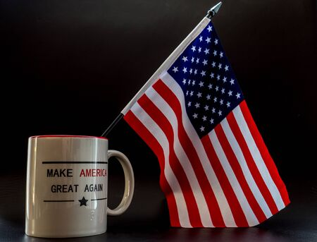 trump make america great again coffee cup with little america flag in it trump campaign