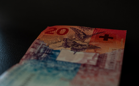 new twenty swiss francs bill currency of switzerland transparent isolated black background