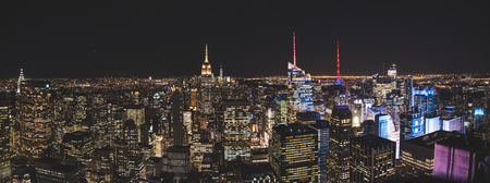 Panorama view from rockefeller center during night to Downtown new york city usa
