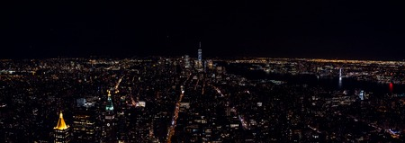 wide Panorama view from Empire State Buillding during night to Downtown