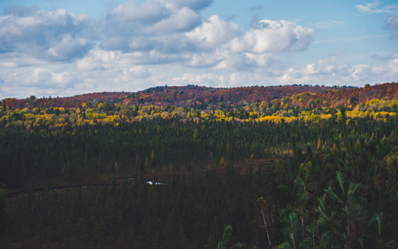 beautiful view over typical canadian countryside landscape with colorful autumn forest in Algonquin Park, Canada fall Archivio Fotografico