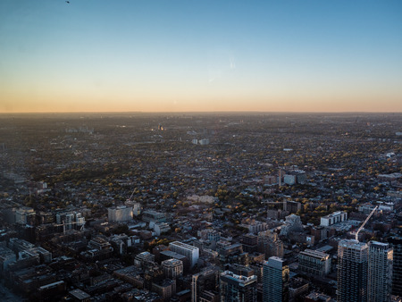 view from cn tower to suburbs of toronto canada sunset Archivio Fotografico